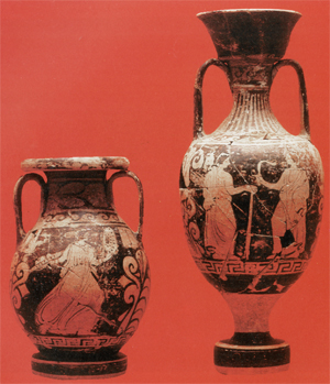 Figurative pottery from the grave n.9 in Montemurro
