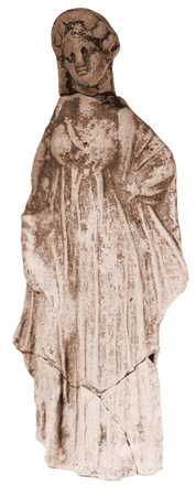Female statuette, with curly hair, from the sacred area of St. Marcus