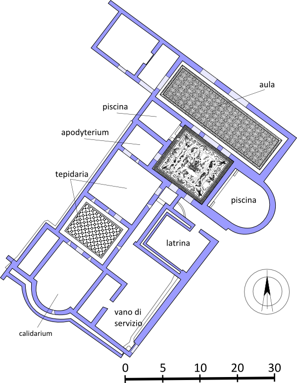 Plan of Imperial thermal baths in Grumentum